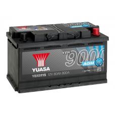 YBX9115 AGM Start Stop Plus Battery 80Ah (800A) -/+ (0)